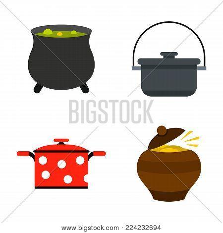 Cauldron icon set. Flat set of cauldron vector icons for web design isolated on white background