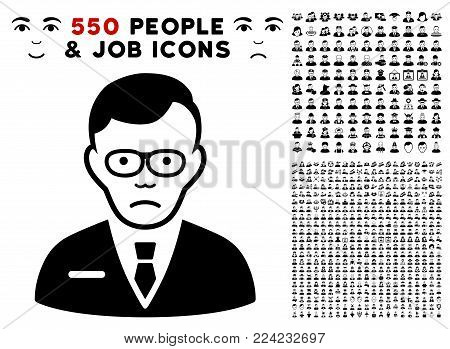 Dolor Specialist icon with 550 bonus sad and happy user graphic icons. Vector illustration style is flat black iconic symbols.