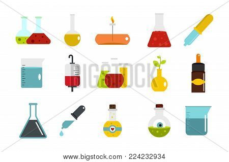 Chemical pot icon set. Flat set of chemical pot vector icons for web design isolated on white background