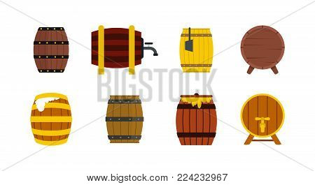 Wood barrel icon set. Flat set of wood barrel vector icons for web design isolated on white background