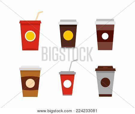 Plastic cup icon set. Flat set of plastic cup vector icons for web design isolated on white background