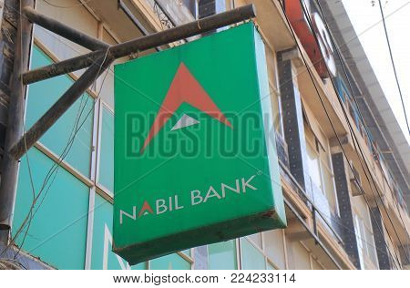 Kathmandu Nepal - November 12, 2017: Nabil Bank Sign. Nabil Bank Is A Commercial Bank In Nepal Found