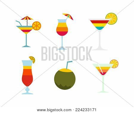 Cocktail icon set. Flat set of cocktail vector icons for web design isolated on white background