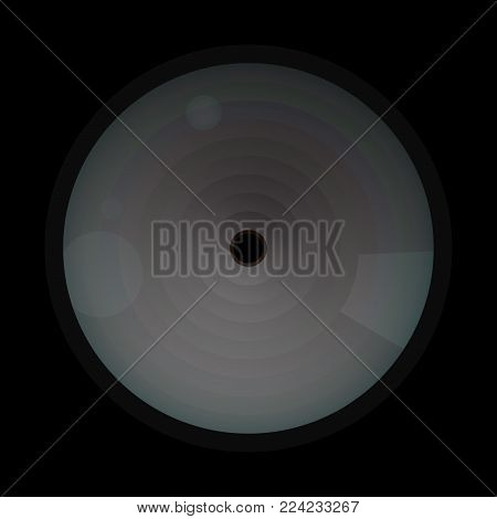Hidden camera in black wall. Inconspicuous lens. To observe people in the room. Micro spy vector illustration.