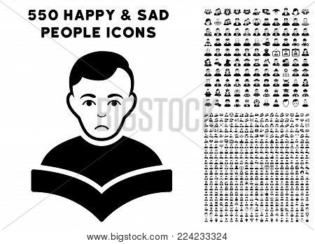 Dolor Student pictograph with 550 bonus sad and happy jobs pictographs. Vector illustration style is flat black iconic symbols.