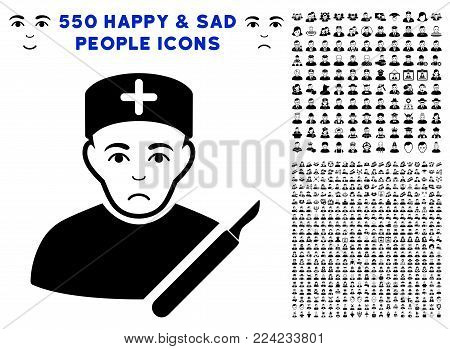 Unhappy Surgeon icon with 550 bonus pity and happy people images. Vector illustration style is flat black iconic symbols.