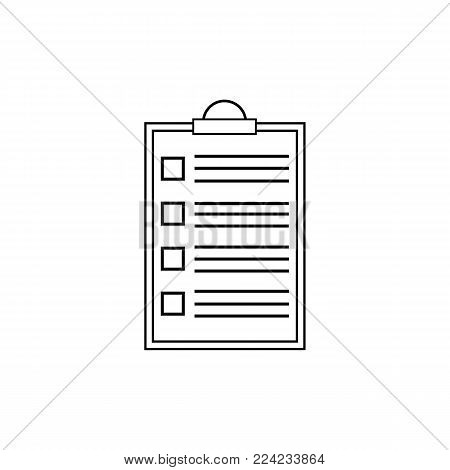 Ckecklist icon. Vector blank. Clipboard with empty checkboxes. Illustartion on white background.