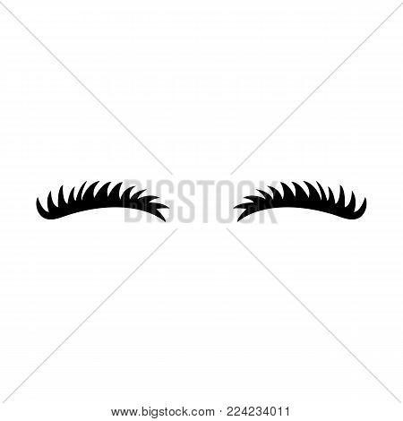 Eyelashes icon. Close eyes. Cute lashes. Vector eyebrows. Illustration isolated on white background.