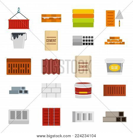 Construcion material icon set. Flat set of construcion material vector icons for web design isolated on white background