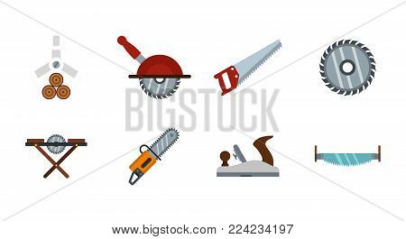 Wood cut tool icon set. Flat set of wood cut tool vector icons for web design isolated on white background
