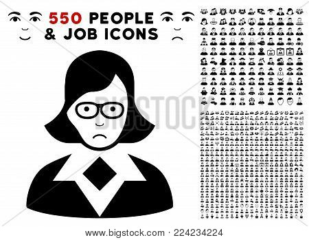 Dolor Teacher Lady pictograph with 550 bonus sad and glad people pictures. Vector illustration style is flat black iconic symbols.