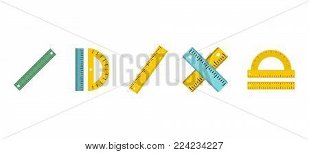 Ruler icon set. Flat set of ruler vector icons for web design isolated on white background