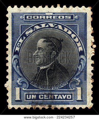 El Salvador - CIRCA 1912: A stamp printed in El Salvador shows portrait Jose Matias Delgado, salvadoran priest and doctor known as El Padre de la Patria Salvadorena (The Father of the Salvadoran Fatherland), circa 1912