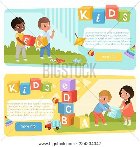Two banners with preschool kids with colored ABC cubes. Speech therapy concept. Playful learning. Design for child development center or kindergarten web site. Cartoon flat vector illustration.