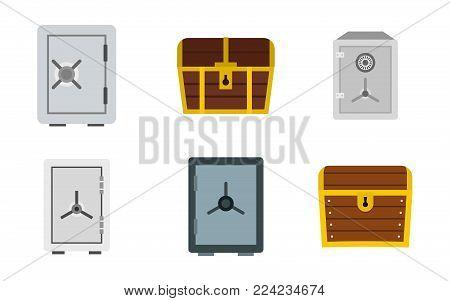 Safe icon set. Flat set of safe vector icons for web design isolated on white background