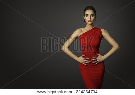 Fashion Model Red Dress, Elegant Woman in Sexy Evening Gown, Beautiful Girl Studio Shot on Black Background