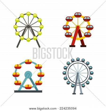 Ferris wheel icon set. Flat set of ferris wheel vector icons for web design isolated on white background