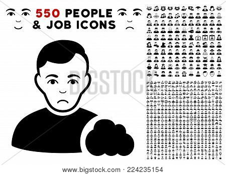 Unhappy User Cloud icon with 550 bonus pity and happy jobs symbols. Vector illustration style is flat black iconic symbols.