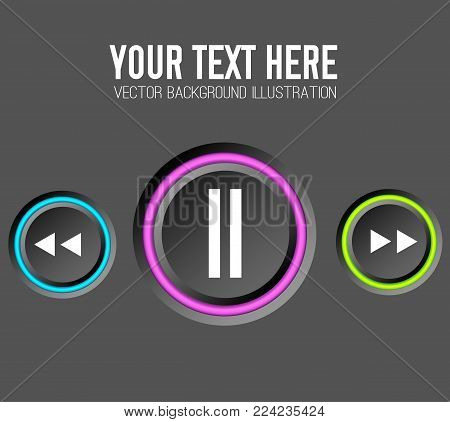 Music web design concept with control round buttons and colorful edging on dark background isolated vector illustration