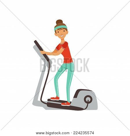 Young woman character exercising with elliptical trainer, girl working out in the fitness club or gym colorful vector Illustration isolated on a white background