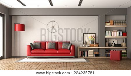 Modern living room with red sofa and wooden bookcase - 3d rendering