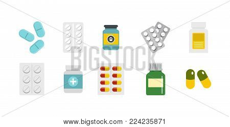 Pills icon set. Flat set of pills vector icons for web design isolated on white background