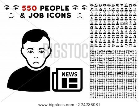Sad User News pictograph with 550 bonus pity and happy user design elements. Vector illustration style is flat black iconic symbols.