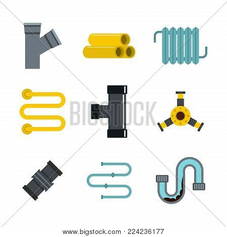 Pipe icon set. Flat set of pipe vector icons for web design isolated on white background