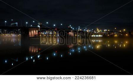 Reflection during a foggy night, in Portland Oregon