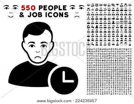 Dolor User Time pictograph with 550 bonus pity and happy jobs clip art. Vector illustration style is flat black iconic symbols.
