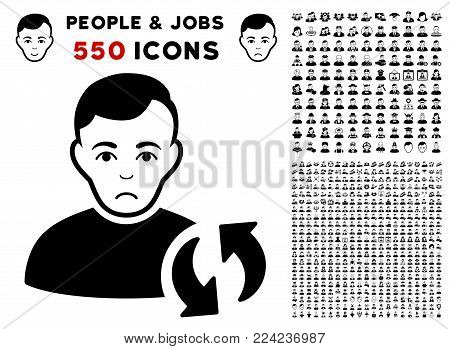 Dolor User Update icon with 550 bonus pitiful and happy people design elements. Vector illustration style is flat black iconic symbols.