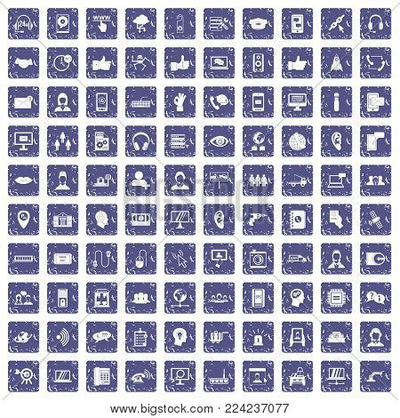 100 call center icons set in grunge style sapphire color isolated on white background vector illustration