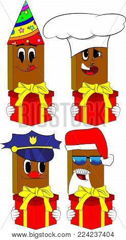 Books holding big gift box. Cartoon book collection with costume faces. Expressions vector set.