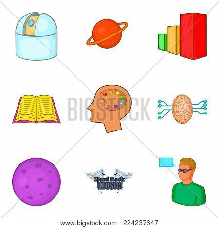 Brilliant thought icons set. Cartoon set of 9 brilliant thought vector icons for web isolated on white background