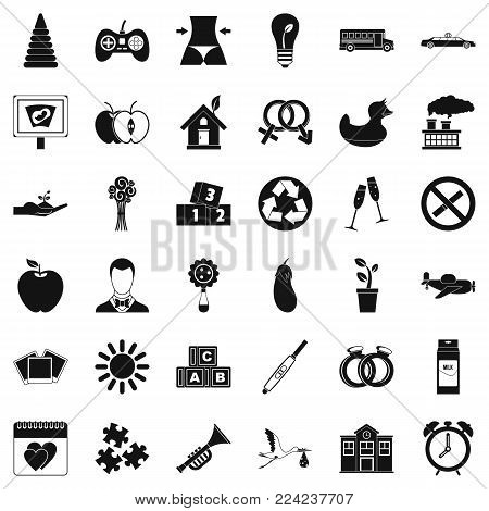 Ordinance icons set. Simple set of 36 ordinance vector icons for web isolated on white background