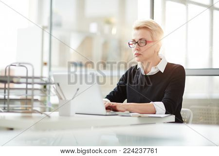Mid-aged employee concentrating on browsing in the net while reading online data in office