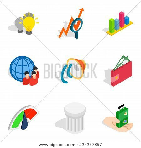 Opinion icons set. Isometric set of 9 opinion vector icons for web isolated on white background