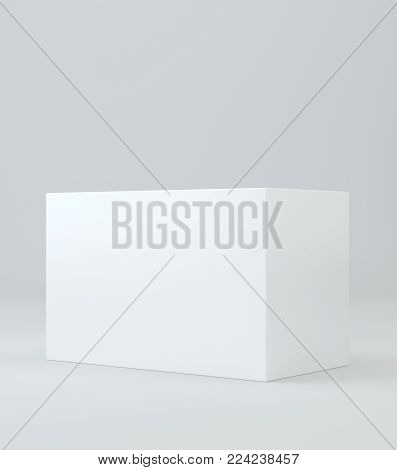 White realistic rectangle box package mockup with shadow for your design. Blank rectangular container or cardboard template for cosmetic, medicine, software, appliance products. 3d illustration