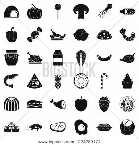 Treat icons set. Simple set of 36 treat vector icons for web isolated on white background