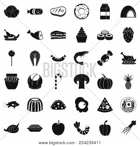 Refreshment icons set. Simple set of 36 refreshment vector icons for web isolated on white background