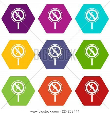 No pedestrian sign icon set many color hexahedron isolated on white vector illustration