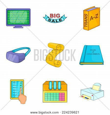 Receive information icons set. Cartoon set of 9 receive information vector icons for web isolated on white background
