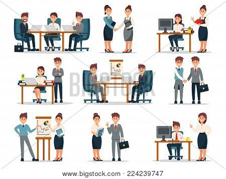 Business people characters at work set, male and female workers at workplace in office cartoon vector Illustrations on a white background