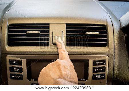 Finger Hitting Car Emergency Light Botton Background
