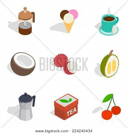 Infusion icons set. Isometric set of 9 infusion vector icons for web isolated on white background