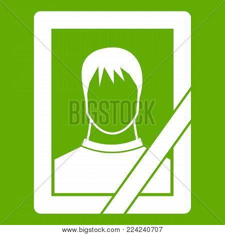 Memory portrait icon white isolated on green background. Vector illustration