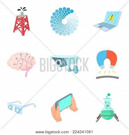 Leading edge technology icons set. Cartoon set of 9 leading edge technology vector icons for web isolated on white background