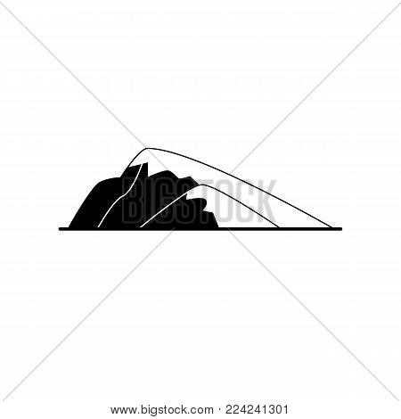 Sloping hill silhouette icon in flat style. Low mountain symbol isolated on white background