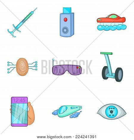 Edge technology icons set. Cartoon set of 9 edge technology vector icons for web isolated on white background