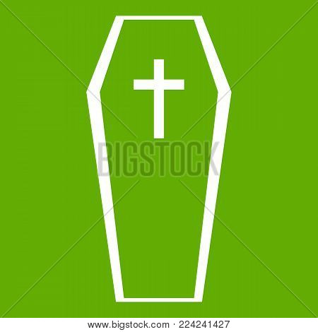 Coffin icon white isolated on green background. Vector illustration